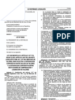 LEY QUE MODIFICA EL ARTÍCULO 137° Y EL INCISO D) DEL ARTÍCULO 226° DEL DECRETO LEGISLATIVO NÚM. 861, LEY DEL MERCADO DE VALORES, PARA FACILITAR LA INTEGRACIÓN CORPORATIVA ENTRE BOLSAS DE VALORES Y LA INTEGRACIÓN CORPORATIVA ENTRE INSTITUCIONES DE COMPENSACIÓN Y LIQUIDACIÓN DE VALORES