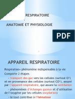 APPAREIL RESPIRATOIRE  ANATOMIE ET PHYSIOLOGIE