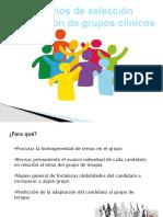 Criterios de selección y aplicación para grupos clínicos