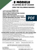 Sands Models Full List09-09