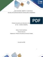 Protocolo de práctica de laboratorio de Química