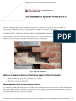 Methods to Improve Masonry Resistance Against Water Penetration