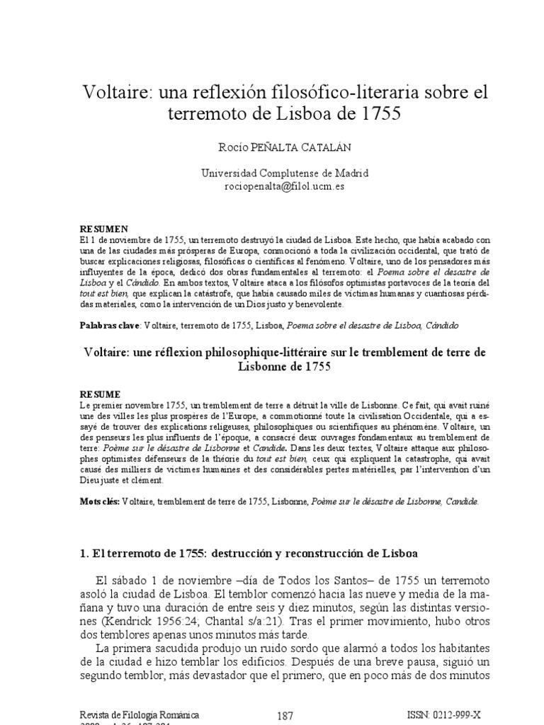 Voltaire Reflexiona Sobre Lisboa