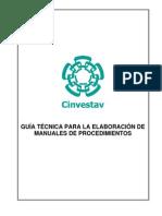 GUÍA TÉCNICA PARA LA ELABORACIÓN DE MANUALES DE PROCEDIMIENTOS, CINESTAV.