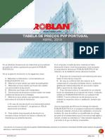 Tabela de preços Roblan 2019