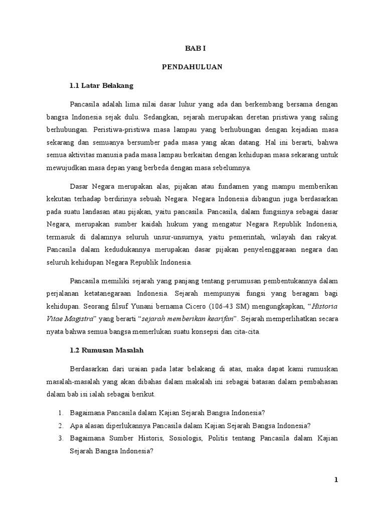 Contoh Makalah Pancasila Sebagai Kajian Sejarah Bangsa Indonesia