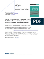 Social Exclusion and Transport in the UK - A Role for Virtual Accessibility in the Alleviation of Mobility-Related Social Exclusion