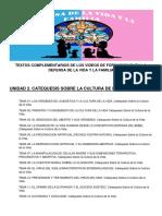 TEXTOS COMPLEMENTARIOS UNIDAD 02 - CATEQUESIS SOBRE LA CULTURA DE LA VIDA