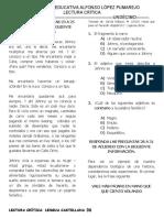TALLER DE LECTURA CRÍTICA UNDÉCIMO 2020.