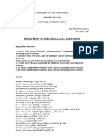 Worksheet 5 - Intention to Create Legal Relations