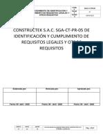 PROCEDIMIENTO DE IDENTIFICACIÓN Y CUMPLIMIENTO DE REQUISITOS LEGALES Y OTROS REQUISITOS - SGA-CT-PR-05.docx
