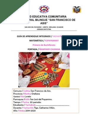 Unidad Educativa Comunitaria Intercultural Bilingue San Francisco De Asis Ecuaciones álgebra