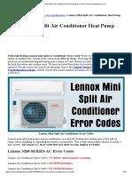 Lennox Mini Split Air Conditioner Heat Pump Error Codes _ RemoveandReplace.com
