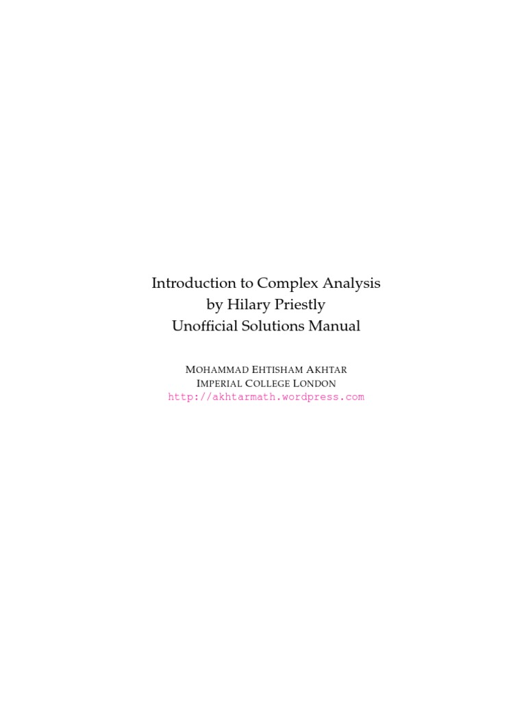 Introduction to Complex Analysis by Hilary Priestly | Functions And  Mappings | Complex Analysis
