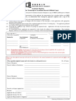 Application for Transcript of Academic Record Official Copy
