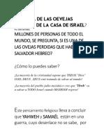 ERES UNA DE LAS OEVEJAS PERDIDAS DE LA CASA DE ISRAEL