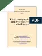 Echantillonnage et recherche qualitative A. Pires dans  Poupart et al. 1997