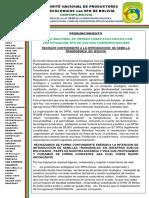 Pronunciamiento Nacional de Rechazo A LA INTRODUCCIÓN DE SEMILLA TRANSGÉNICA EN BOLIVIACONPESPG 2020