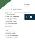 LOGICA MATEMATICA - LEYES DEL ALGEBRA PROPOCICIONAL