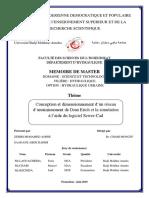 MEMOIRE de MASTER. Thème. Conception Et Dimensionnement d Un Réseau d Assainissement de Draa Erich Et La Simulation à l Aide Du Logiciel Sewer-Cad