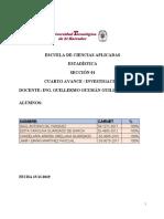 CUARTO AVANCE DE  I INVESTIGACION DE CATEDRA ESTADISTICA