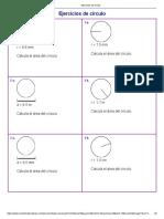 Ejercicios de círculo área
