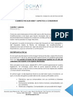 Memorandum Cambios Fiscales 2020