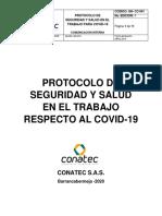 PROTOCOLO DE SEGURIDAD Y SALUD EN EL TRABAJO RESPECTO AL COVID. CONATEC S.A.S