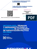 Taller Metodología, técnicas y herramientas para la ejecución de actividades de capacitación política en línea