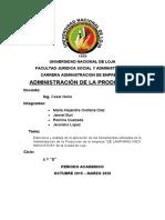 Informe  primera unidad administracion de la produccion LAMPARAS