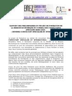 RAPPORT DES PRELEMINAIRES DE LA FORMATION DE LA MECCA