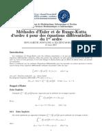 Méthodes d'Euler et de Runge-Kutta d'ordre 4 pour des équations différentielles du 1er ordre