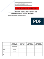 Method Statement for Alcatel Telephony System Installation Testing  Comm