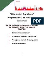"""Repornim România"" - Programul PSD de relansare a economiei"