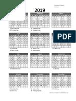 2019 Yearly Business Calendar Week No 05