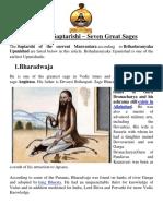 Names of Saptarishi- Seven Great Sages