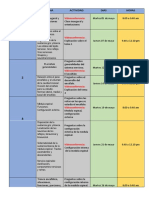 CRONOGRAMA DE ACTIVIDADES PSICO 2A