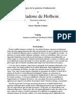 À Propos de La Question d'Authenticité La Madone de Holbein.-français-Gustav Theodor Fechner