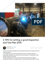 6 TIPS for writing a good Inspection and Test Plan (ITP)