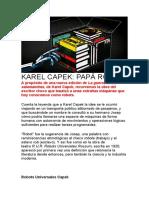 KAREL CAPEK PAPA ROBOT