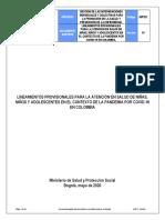 Lineamientos provisionales para la atención en salud de niñas, niños y adolescentes en el contexto de la pandemia por COVID-19 en Colombia.pdf