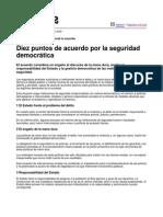 10 Puntos de Acuerdo Para La Seguridad Democratic A