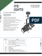 Strand Century Lighting 2115-2125-2135 3.5-Inch Lekolite Ellipsoidal Spotlight Spec Sheet 6-77