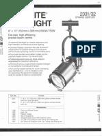 Strand Century Lighting 2331-2332 6x12-Inch Lekolite Ellipsoidal Spotlight Spec Sheet 6-77
