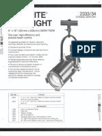 Strand Century Lighting 2333-2334 6x16-Inch Lekolite Ellipsoidal Spotlight Spec Sheet 6-77