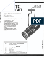 Strand Century Lighting 2569-2560 10x12-Inch Lekolite Ellipsoidal Spotlight Spec Sheet 6-77