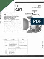 Strand Century Lighting 3701 Vega 14-Inch Fresnel Spotlight Spec Sheet 6-77