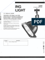 Strand Century Lighting 4291 14-Inch Focusing Scoop Floodlight Spec Sheet 6-77