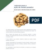 Alimentos naturais para a desintoxicação de metais pesados
