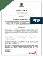 Decreto 126 de 2020 para el manejo de la pandemia en Bogotá